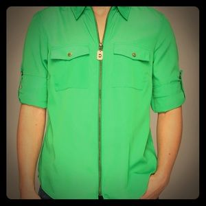 Michael Kors Petite Top,  Zip-Front Work Shirt